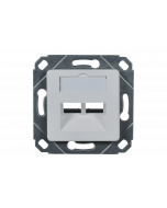 tBL® - wall outlet (open design) 45° for 2x Keystone Modules incl. central plate 50x50mm, RAL9010