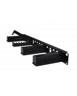 """tPM - Patch Cord Management 19"""" 1U, 4x cable guide holders without foam inserts black"""