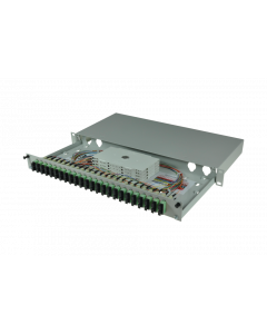 tBL® - LWL Spleißbox 19'' 1HE SM 12x SC APC Duplex OS2, spleißfertig vorbereitet