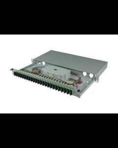 tBL® - LWL Spleißbox 19'' 1HE SM 24x SC APC Duplex OS2, spleißfertig vorbereitet