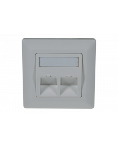 tBL® - wall outlet 45° for 2x Keystone Modules incl. frame 80x80mm, RAL9010
