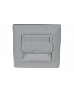 tBL® - wall outlet 45° for 3x Keystone Modules incl. frame 80x80mm, RAL9010