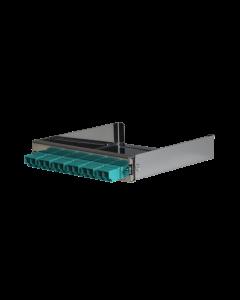 tML® - partial front panel with 6x LC Duplex OM3 aqua for Rack Mount Enclosure 1U extendable