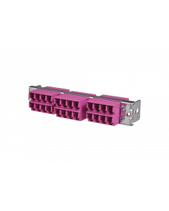 tML® - HD FO partial front panel with 12x LC Duplex OM4 magenta for Rack Mount Enclosure 1U