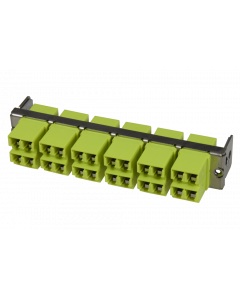 tML® - HD FO partial front panel with 12x LC Duplex w. shutter OM5 limegreen for Rack Mount Enclosure 1U