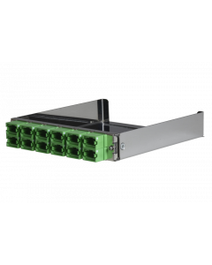 tML® - partial front plate with 12x MPO/MTP® Type A (Key Up/Down) OS2 Green for the Rack Mount Enclosure 1U extendable