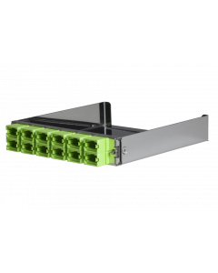 tML® - partial front plate with 12x MPO/MTP® Type A (Key Up/Down) OM5 Limegreen for the Rack Mount Enclosure 1U extendable