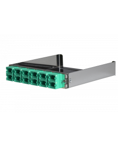 tML® - partial front plate with 12x MPO/MTP® Type A (Key Up/Down) OM3 Aqua for the Rack Mount Enclosure 1U extendable