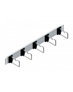 """tML® - TP Patch Cord Managment 19"""" Panel 1U, 5 rings 75mm, stainless steel"""