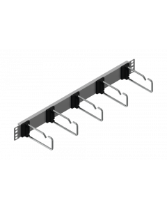 """tML® - TP Patch Cord Managment 19"""" Panel 1U, 5 rings 110mm, stainless steel"""